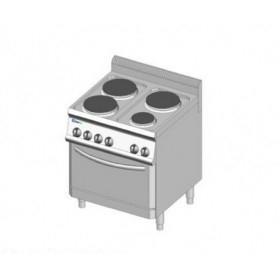 Cucina elettrica a 4 piastre rotonde + forno elettrico. Dim.cm. 70x70x85H. - Assorbimento 12