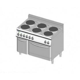 Cucina elettrica a 6 piastre rotonde + forno elettrico. Dim.cm. 105x70x85H. - Assorbimento 16