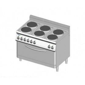 Cucina elettrica a 6 piastre rotonde + forno elettrico MAXI. Dim.cm. 105x70x85H. - Assorbimento 18