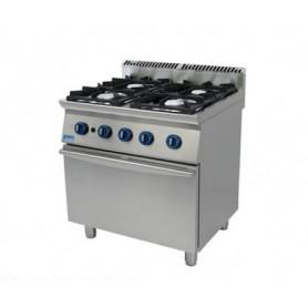 Cucina a GAS 4 fuochi a fiamma libera + forno a gas. Dim.cm. 80x90x85H. - Potenza termica 27