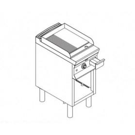 Fry Top elettrico con piano ½ LISCIO e ½ RIGATO. Dim.cm. 40x70x85H. - Assorbimento 5.4 Kw.