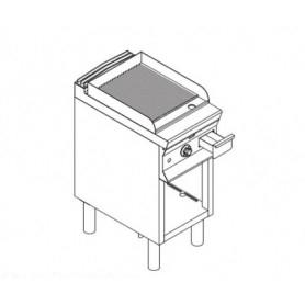 Fry Top elettrico con piano RIGATO. Dim.cm. 40x70x85H. - Assorbimento 5.4 Kw.