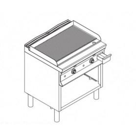 Fry Top elettrico con piano RIGATO. Dim.cm. 80x70x85H. - Assorbimento 10.8 Kw.