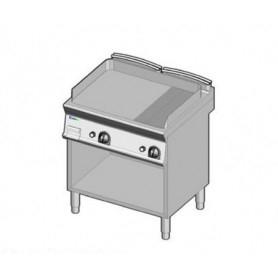 Fry Top a gas con piano LISCIO e RIGATO. Dim.cm. 80x70x85H. - Potenza termica 14 Kw.