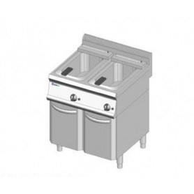 Friggitrice a 2 vasche da lt. 14+14 a GAS. Dim.cm. 70x70x85H. - Potenza termica 23 Kw.