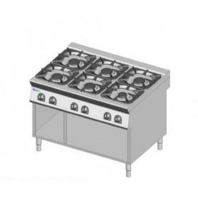 Cucina a GAS 6 fuochi a fiamma libera. Dim.cm. 120x90x85H. - Potenza termica 48 Kw.