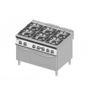 Cucina a GAS 6 fuochi + forno a gas. Dim.cm. 120x90x85H. - Potenza termica 55 Kw.