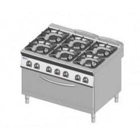 Cucina a GAS 6 fuochi + forno a gas MAXI. Dim.cm. 120x90x85H. - Potenza termica 57 Kw.