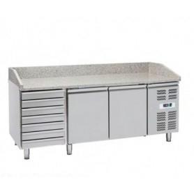 Banco Pizza refrigerato 2 sportelli + cassettiera a 7 cassetti. Piano in granito. cm. 202x80x100H.