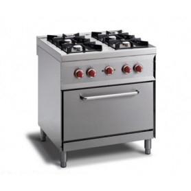 Cucina a GAS 4 fuochi a fiamma libera + forno a elettrico GN 1/1. Dim.cm. 80x70x85H. - Potenza termica 14