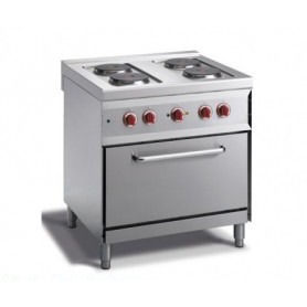 Cucina elettrica a 4 piastre rotonde + forno elettrico GN 1/1. Dim.cm. 80x70x85H. - Assorbimento 10.50 Kw.