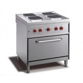 Cucina elettrica a 4 piastre quadrate+ forno elettrico GN 1/1. Dim.cm. 80x70x85H. - Assorbimento 12.90 Kw.