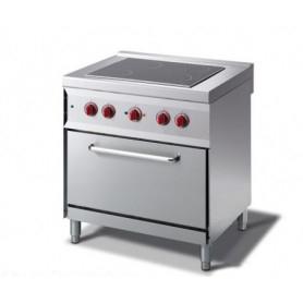 Cucina elettrica con piano cottura in Vetroceramica + forno elettrico GN 1/1. Dim.cm. 80x70x85H. - Assorbimento 8.80 Kw.