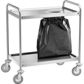 Carrello di servizio inox con foro sbarazzo e sacco rifiuti. Dim.cm. 90x60x94H