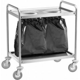 Carrello di servizio inox con 2 fori sbarazzo e sacco rifiuti. Dim.cm. 110x60x94H