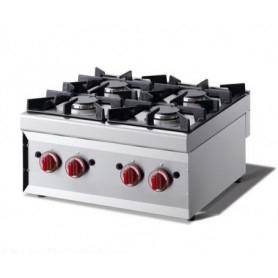 Cucina da banco 4 fuochi. Dim.cm. 60x60x27H. - Potenza termica 14.80 Kw.