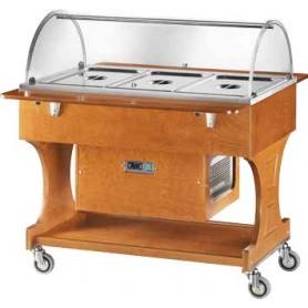 Carrello espositore refrigerato in legno con cupola in plexiglass. Capacità 3 GN 1/1. Tem. -5°/+5°C. Dim.cm. 110x82x125H