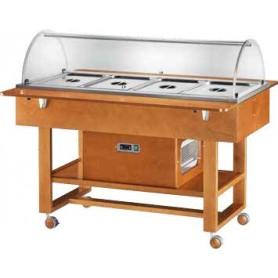 Carrello espositore refrigerato in legno con cupola in plexiglass. Capacità 4 GN 1/1. Tem. +2°/+10°C. Dim.cm. 148x82x125H