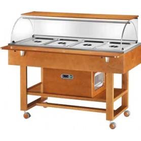 Carrello espositore refrigerato in legno con cupola in plexiglass. Capacità 4 GN 1/1. Tem. +2°/+10°C. Dim.cm. 148x75x126H