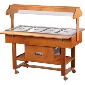 Carrello espositore refrigerato Self Service. Capacità 4 GN 1/1. Temp. +2°/+10C°. Dim.cm. 148x82x141H