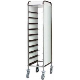 Carrello portavassoi inox con fianchi in acciaio inox – capacità 10 vassoi.