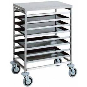 Carrello inox portateglie per pasticceria e pizzeria 60x40. Capacità 8 teglie