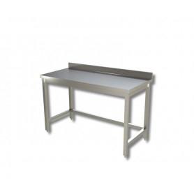 Tavolo inox senza ripiano di fondo, con alzatina posteriore – Prof. 90