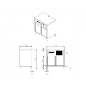 Base macchina caffè realizzata in acciaio inox AISI 304. Con tramoggia Battifondi e cassetto di servizio. Cm. 100X65x110h