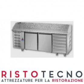 Banco Pizza refrigerato 2 sportelli + cassettiera dsestra e piano in granito. 216x80x103H.