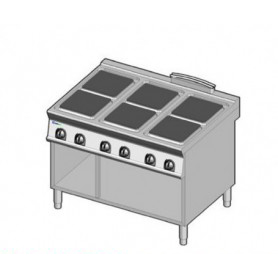 Cucina elettrica 6 piastre. Dim.cm. 120x90x85H. - Kw. 24