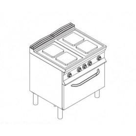 Cucina elettrica 4 piastre + forno elettrico. Dim.cm. 80x90x85H. - Kw. 16.4