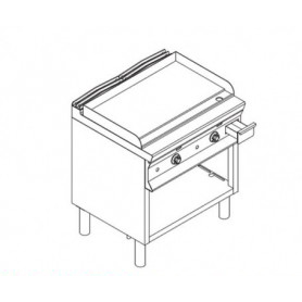 Fry Top a gas con piano di cottura LISCIO . Dim.cm. 80x90x85H.
