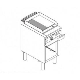 Fry Top a gas con piano di cottura ½ LISCIO e ½ RIGATO . Dim.cm. 40x90x85H.