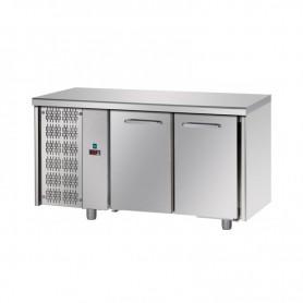 Tavolo Refrigerato 2 porte, 310 Lt. Acciaio inox. -2°/+8°C. - Cm. 142x70x85H. * MOTORE A SINISTRA *