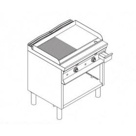 Fry Top a gas con piano di cottura ½ LISCIO e ½ RIGATO . Dim.cm. 80x90x85H.