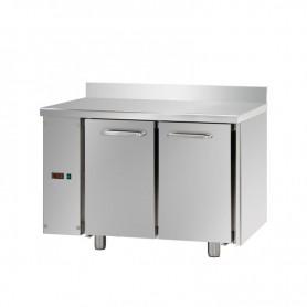 Tavolo Refrigerato 2 porte con alzatina, 310 Lt. Acciaio inox. -2°/+8°C. - Cm. 120x70x85H. * predisposto per MOTORE REMOTO *