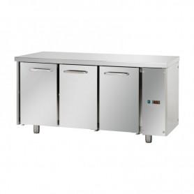 Tavolo Refrigerato 3 porte, 310 Lt. Acciaio inox. -2°/+8°C. - Cm. 165x70x85H. * predisposto per MOTORE REMOTO *