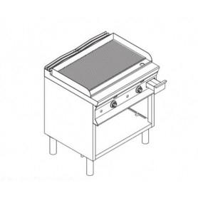 Fry Top a gas con piano di cottura RIGATO . Dim.cm. 80x90x85H.