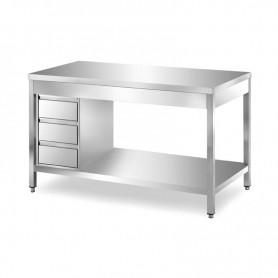 Tavolo inox con ripiano di fondo e cassettiera - Prof. 60