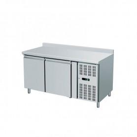 Tavolo Refrigerato 2 porte, 290 Lt. con alzatina. Acciaio inox. -2°/+8°C. Cm. 136x70x85H.