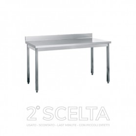Tavolo inox su gambe con alzatina post. Dim.cm. 60x70x85h. * top senza pellicola *