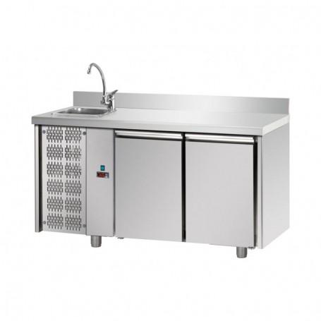Tavolo Refrigerato 2 porte, con lavello sinistro e ...