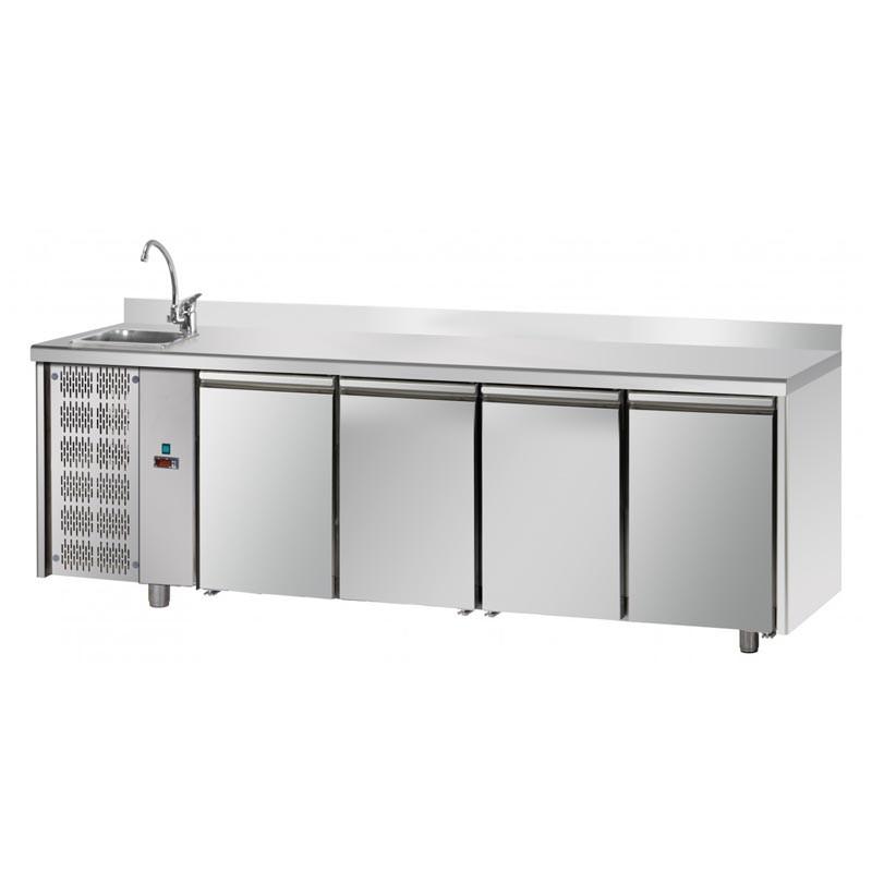 Tavolo Refrigerato 4 porte, con lavello a sinistra e ...