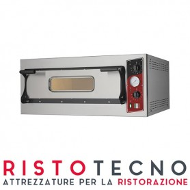 Forno Pizza elettrico 1 camera. Capacità 1 teglia 60x40 • 4 pizze Ø 36 cm. - Kw. 6