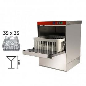 Lavabicchieri elettromeccanica cestello 35x35 - H. bicchieri 24 cm. • Dosatore Brillantante Incorporato