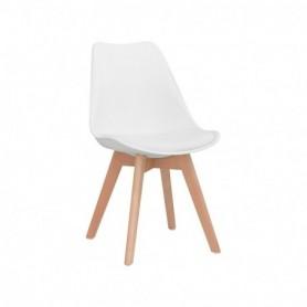Sedia in legno e polipropilene con cuscino in ecopelle
