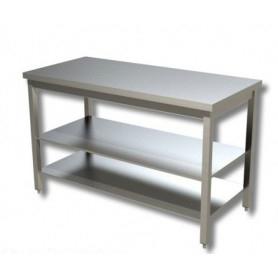 Tavolo inox con 2 ripiani di fondo