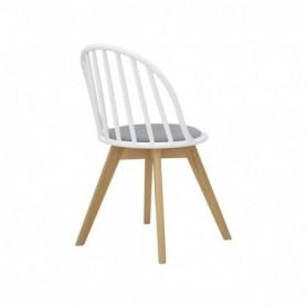 Sedia in legno di faggio e polipropilene con cuscino in tessuto