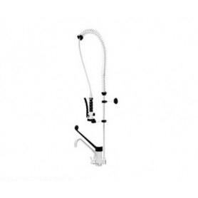 Gruppo doccia + miscelatore con dev. con canna a tubo e leva plastica cm 23