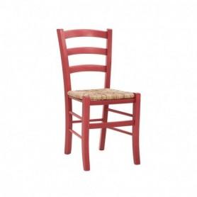 Sedia in legno con seduta impagliata - Colore Rosso